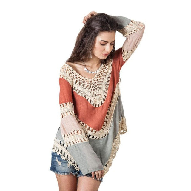 Sexy Boho Style Lace Crochet Hollow Swimwear Beach Bikini Suit Cover Ups saida de praia