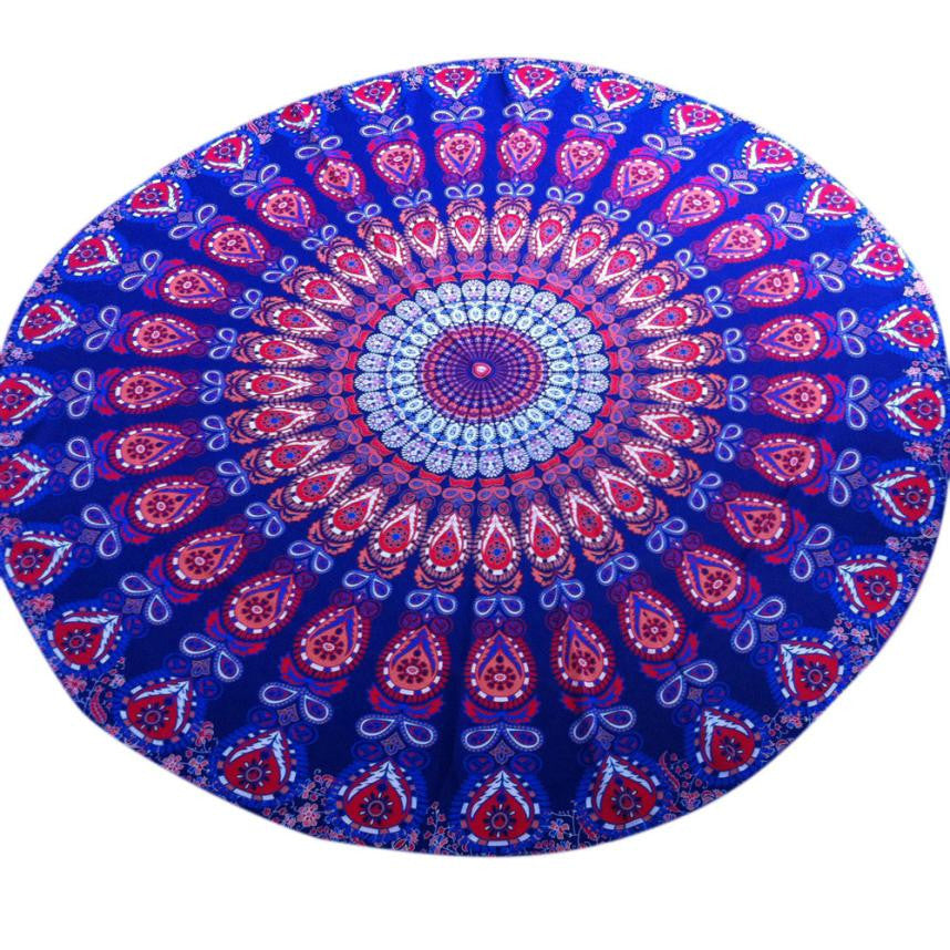 Round Beach Towel Table Cloth yoga mat blanket for summer camping #YL - Gisselle Morales
