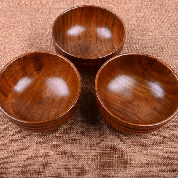 New Arrival Natual Wood Round Salad Bowl Kitchen Wooden Handmade Children Fruit Rice Bowl - Gisselle Morales