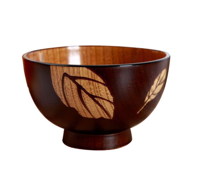 Natual Wood Round Salad Bowl Kitchen Wooden Handmade Children Fruit Rice Bowl Kitchen Accessories - Gisselle Morales