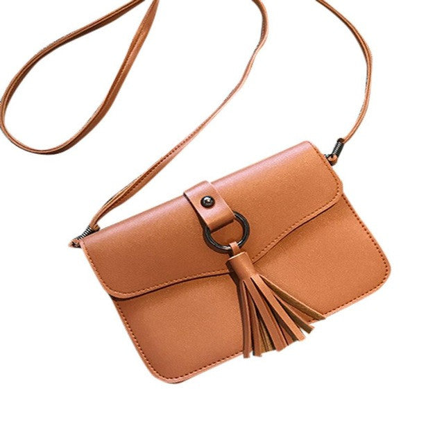 Xiniu Boho Style messenger bags mini crossbody Leather leather Boho Style bag small Tassel Shoulder Bag 5M - Gisselle Morales