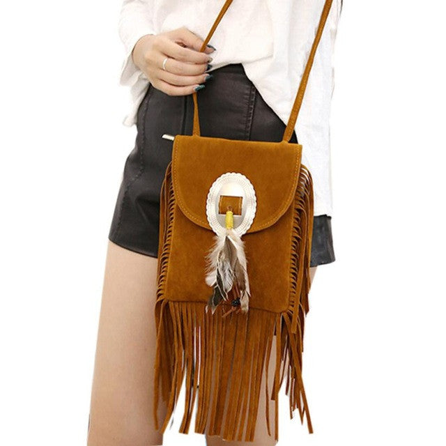 Xiniu Boho Style bag cross body vintage Suede Boho Style messenger bag small crossbody Tassels Phone Coin Bag 5M