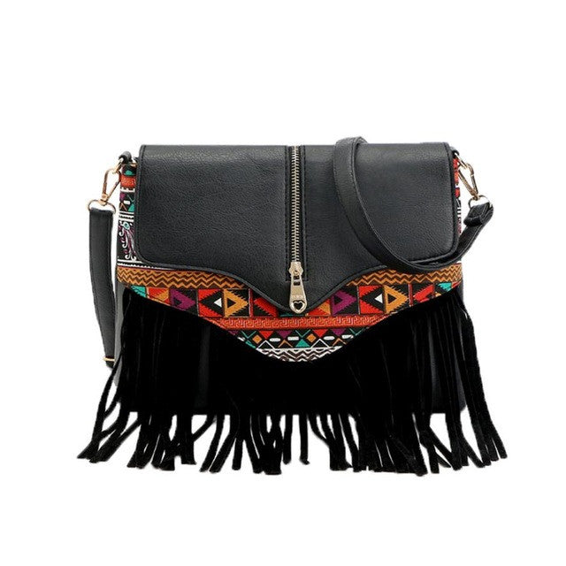 Boho Style Messenger Handbags leather Fringe Tassel Bag Fashion shoulder bag bao bao 5M - Gisselle Morales