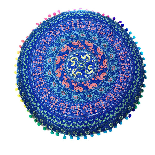 80cm Mandala Pillow Case Round Velvet Cushion Covers Blue or Wine - Gisselle Morales