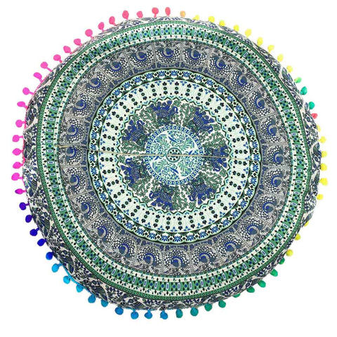 Mandala Pillows Round Bohemian Pillows Cover Case - Tassels - Gisselle Morales
