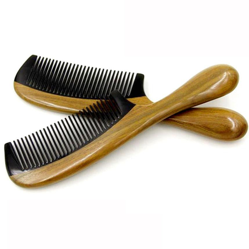 Horn Comb Wooden Comb Handle Handmade Sandalwood Fine Tooth Curly Hair Comb - Gisselle Morales