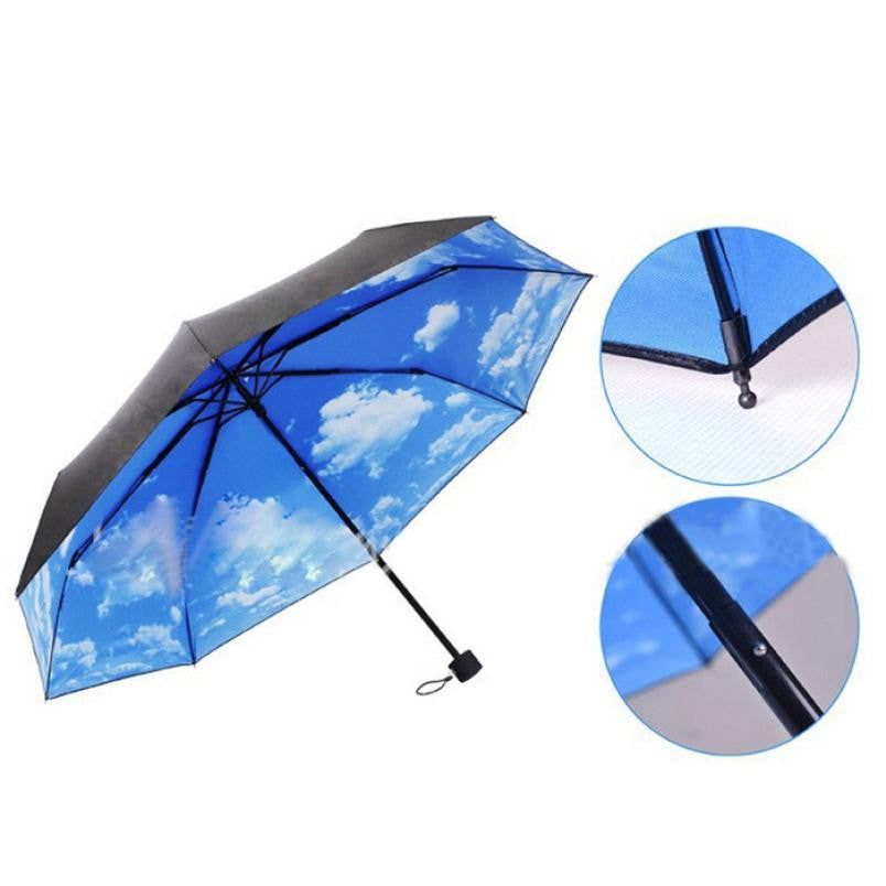 Super Deal The Super Anti-uv Sun Protection Umbrella Blue Sky 3 Folding Gift Parasols Rain Umbrellas For Boho Style Boho Style Free Shipping