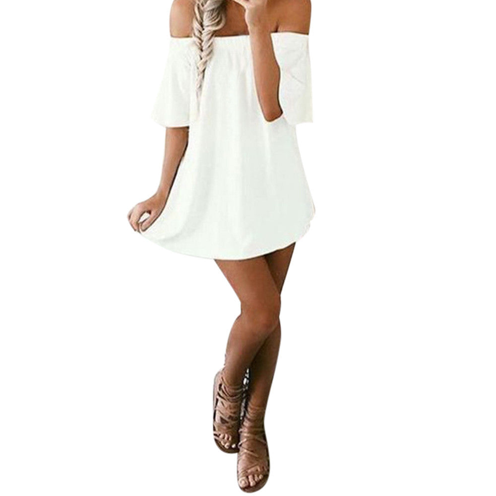 Boho Dress Bohemian Off Shoulder Boho Style Loose Sleeveless Dress Casual Party Evening Short Summer Beach Wear White Dress Hippie de festa - Gisselle Morales