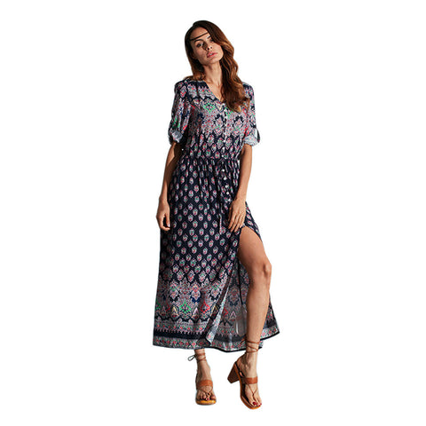 Boho Dress Sexy Boho Style Long Maxi Long Sleeve Beach Dress V Neck Floral Print Beach Wear tunicas de playa para mujer EW