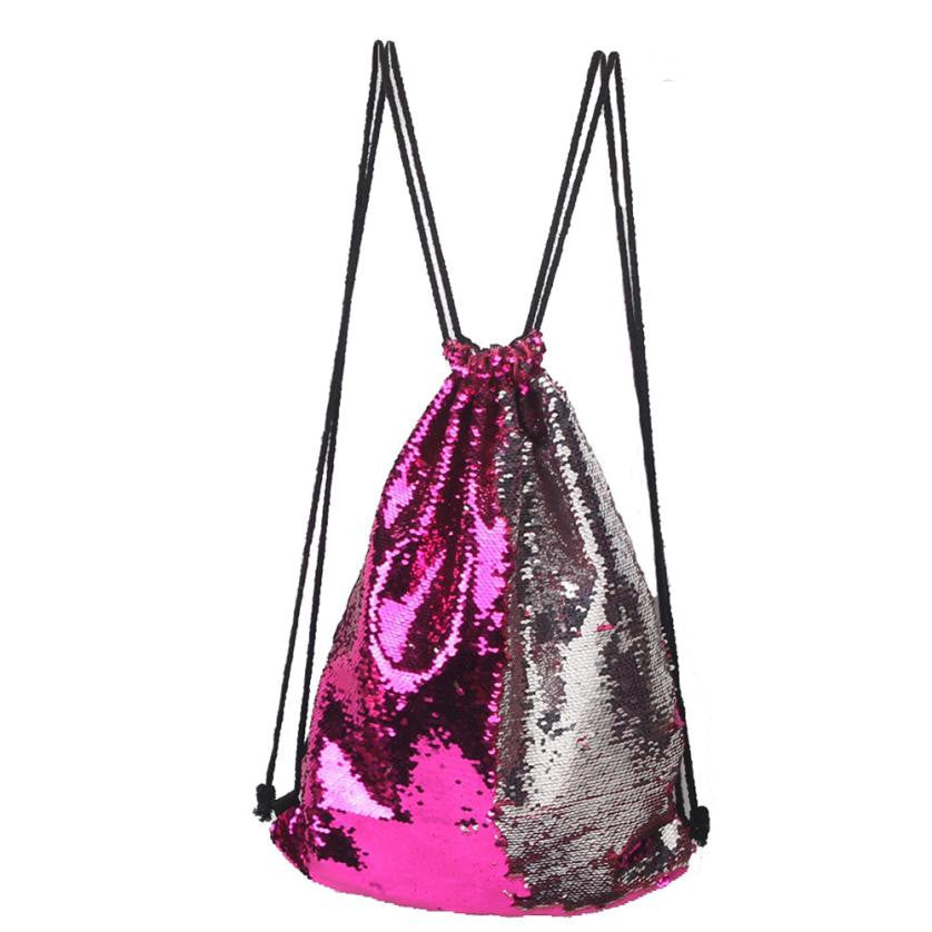Boho Style Sequins Drawstring backpack shoulder bag multi color backpack girl school bag Travel Satchel Rucksack mochila bolso 4M
