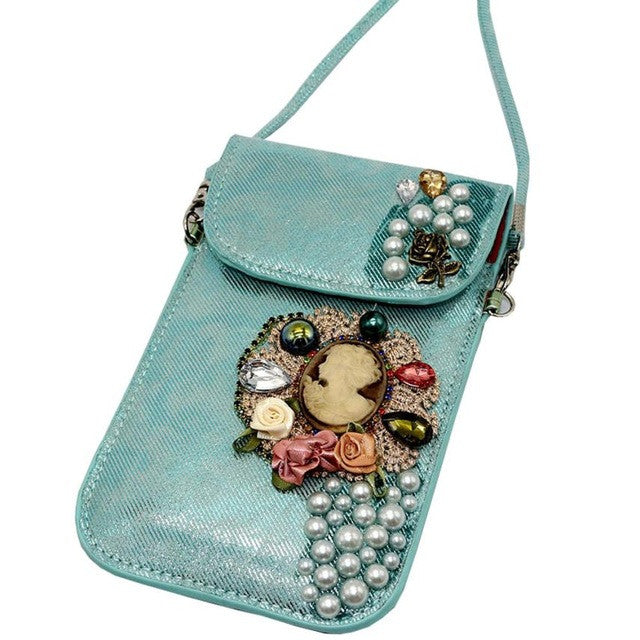Boho Style mobile Phone Bag leather Clutch Purse crystal handbags Female crossbody bags for Boho Style bao bao LRYW - Gisselle Morales
