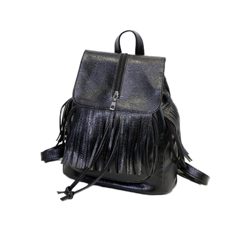 New Fashion Boho Style Backpack Leather Rucksack Tassel Shoulder School Bag Travel Bag mochila feminina 30