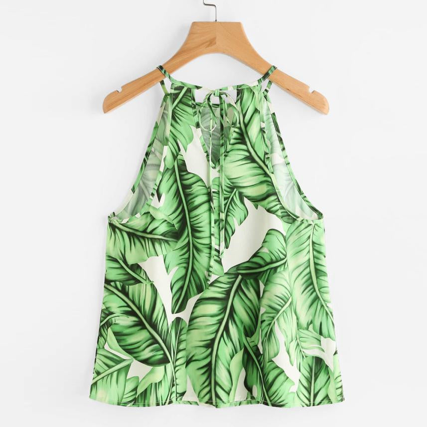 Boho Style Tops Summer 2018 Ladies Spaghetti Strap Camisole Leaves Printed Casual Crop Top Shirt Blusa Cami Top - Gisselle Morales