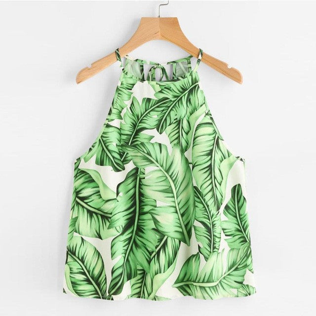 Boho Style Tops Summer 2018 Ladies Spaghetti Strap Camisole Leaves Printed Casual Crop Top Shirt Blusa Cami Top