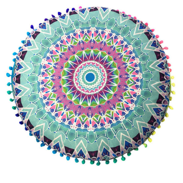 80cm Floral Mandala Pillow / Cushion Cover - Blue, Green, Purple - Gisselle Morales
