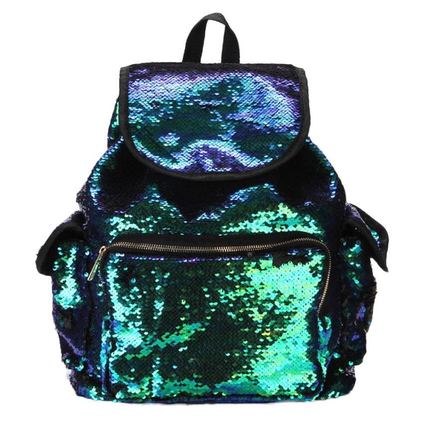 Boho Style backpack pu leather Double Color Sequins School Bag For Girls Soft Backpack Fashion Bag 5M
