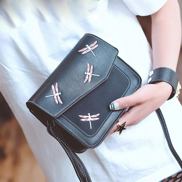 Xiniu small bags for Boho Style bag cross body print Dragonfly Pattern Boho Style messenger bag small leather handbag 5M - Gisselle Morales