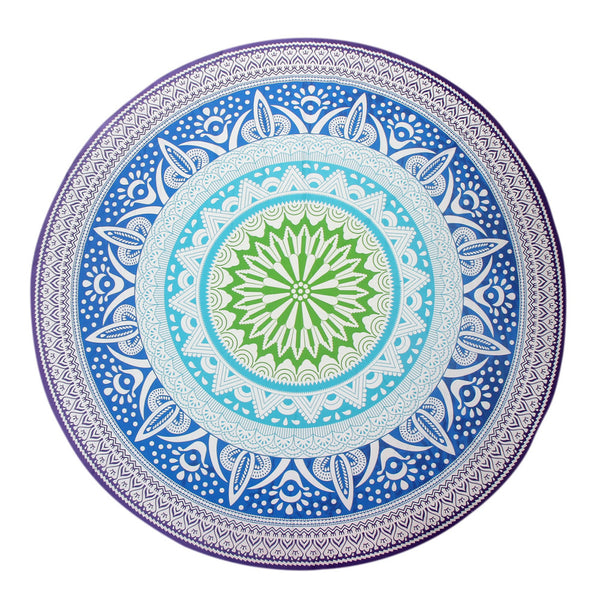 150cm Beautiful Mandala Yoga Mat Blue, White & Green Pattern - Gisselle Morales