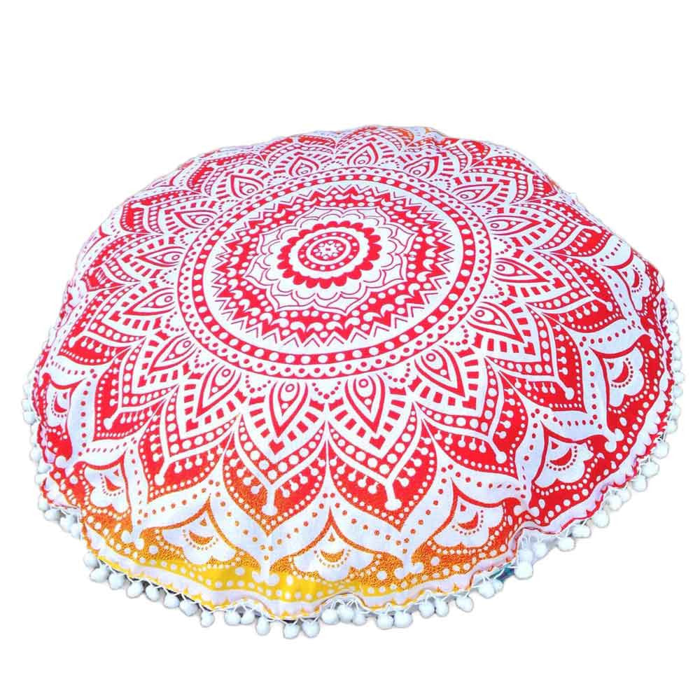 Indian Large Mandala Floor Pillow Case White, Red & Yellow - Gisselle Morales