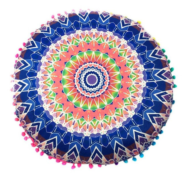 Round Bohemian Indian Mandala Pillows Pillows Cover Case decorative pillows pillow case vintage - Gisselle Morales