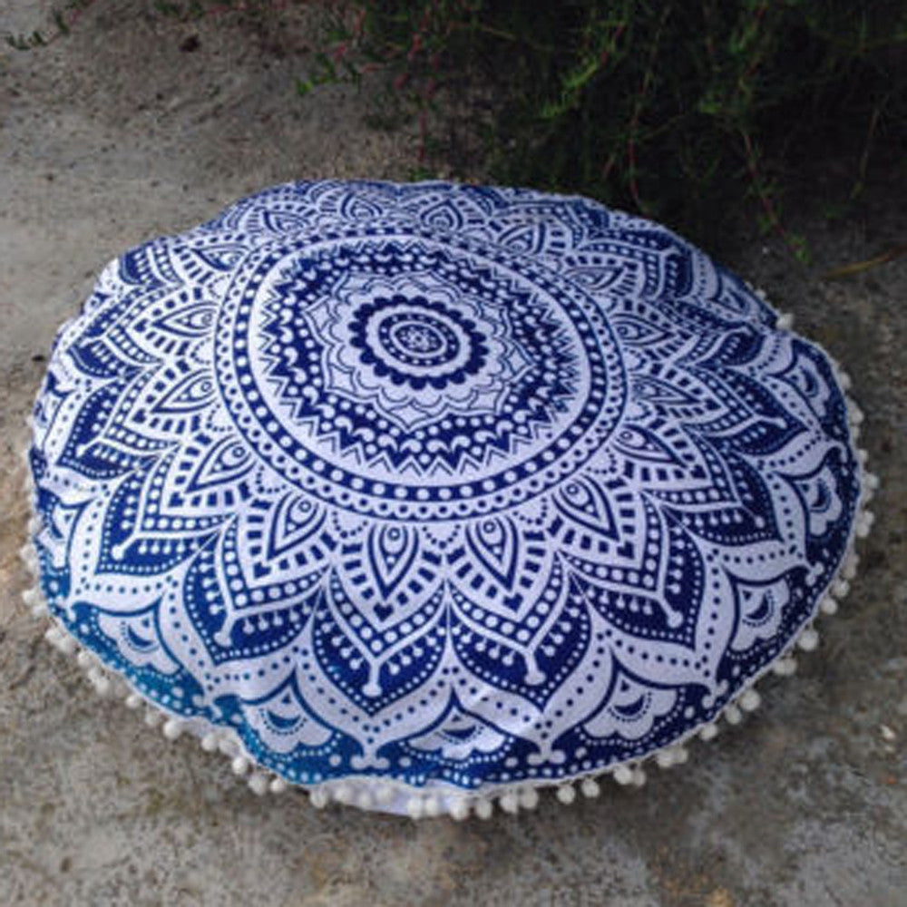 80cm Decorative Mandala Pillow / Cushion Cover - Blue & White - Gisselle Morales