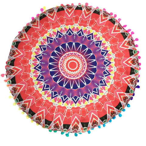 80cm Decorative Mandala Velvet Pillow Covers - Orange or Teal - Gisselle Morales