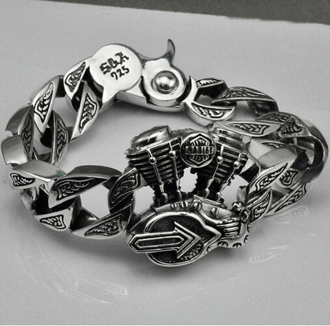 S925 Thai silver Motorcycle bracelets for cool Men jewelry punk style 925 Sterling Silver Bracelet HYB15 - Gisselle Morales