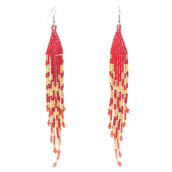 Hippie Chic Summer Jewelry Boho Dangle Earrings Woman's Handmade Weaving Earrings Bohemia Boho Style - Gisselle Morales