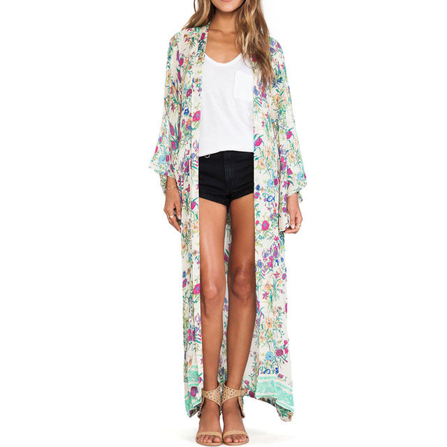 Boho Waterfall Floral Printed Loose Casual Kimono Top