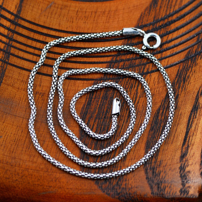 100% 925 Sterling Silver Boho Style Necklace Fashion Thick Chain Silver Father Day's Gift Long Punk Necklaces Hippies - Gisselle Morales