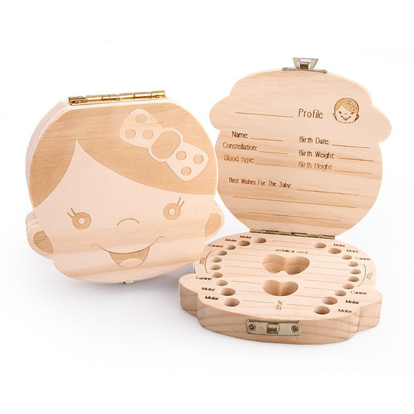 English Language Wood Tooth Box Organizer Save Milk Teeth Wood Storage Collecting Teeth Creative Gift Save Umbilical Cord Lanugo - Gisselle Morales