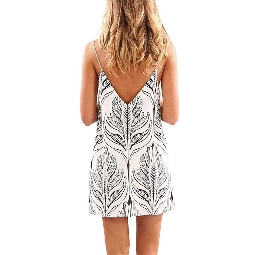 Off Shoulder Summer Dress Boho Style Sleeveless Printed Short Mini Dress High waist Beach Dress Boho Party Sexy Dresses