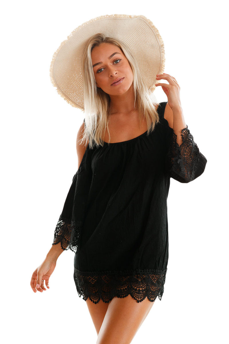 Black Lacy Crochet Trim Crinkle Cold Shoulder Beachwear - Gisselle Morales