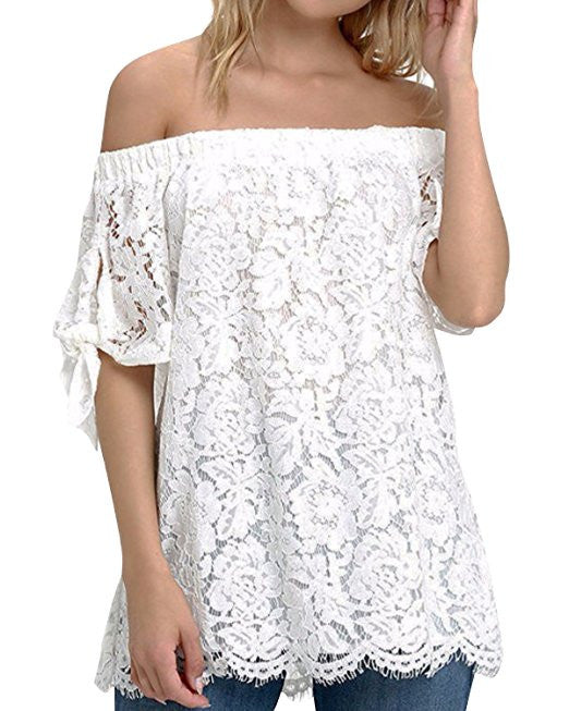 Boho Style Strapless Lace Off Shoulder Elegant Tie Short Sleeve Crochet Blouse Sexy Tee Tops - Gisselle Morales
