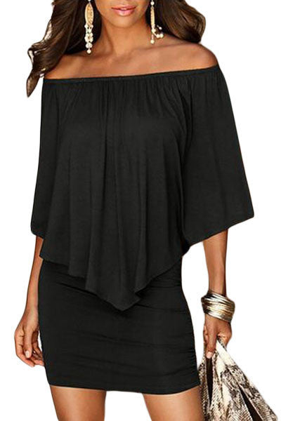 Boho Dress Multiple Dressing Layered Black Mini Dress