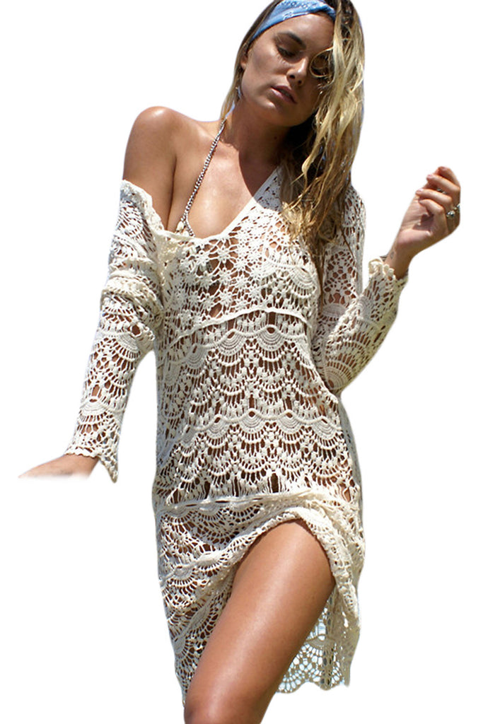 Boho Dress Cream Flowery Crochet Long Beach Dress - Gisselle Morales
