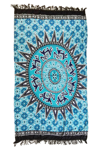 210x 150cm Blue Medallion Pattern Tapestry Cotton Yoga Mat Wall Decor - Gisselle Morales
