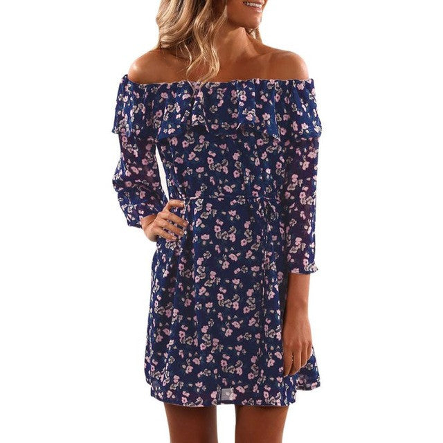 Boho Dress Hot Sale Bohemian Ruffles Autumn Dress Boho Style Sexy Chiffon Floral Print Off Shoulder Half Sleeve Mini Dress Hippie de festa