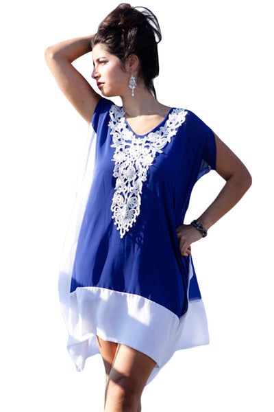 Blue White Chiffon Colorblock Crochet Applique Kaftan - Gisselle Morales
