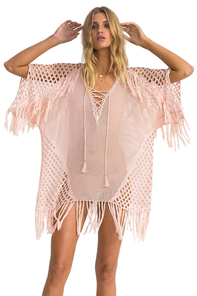 Blush Plunging V Neck Lace up Fishnet Fringe Kaftan - Gisselle Morales