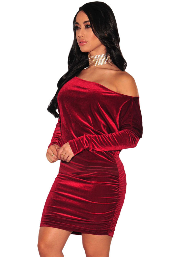 Boho Dress Wine Velvet Off Shoulder Ruched Dress - Gisselle Morales