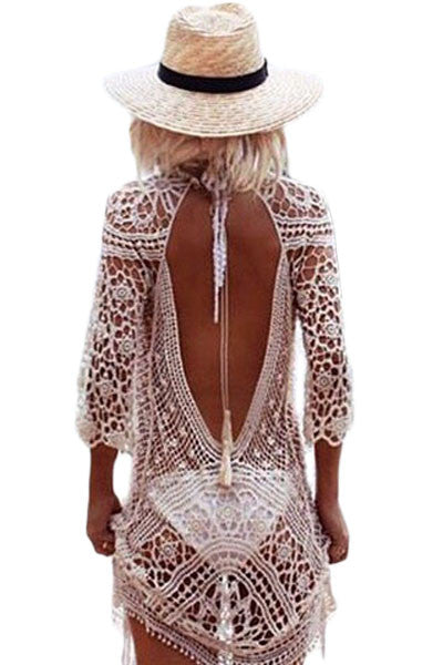 Sheer Crochet Open Back Beachwear - Gisselle Morales
