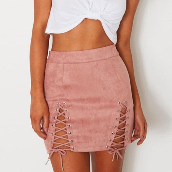 Autumn Winter Lace Up Leather Suede Pencil Skirt Bandage Sexy Elastic Short Skirt Split Bodycon Cross High Waist Skirts Boho Styles - Gisselle Morales