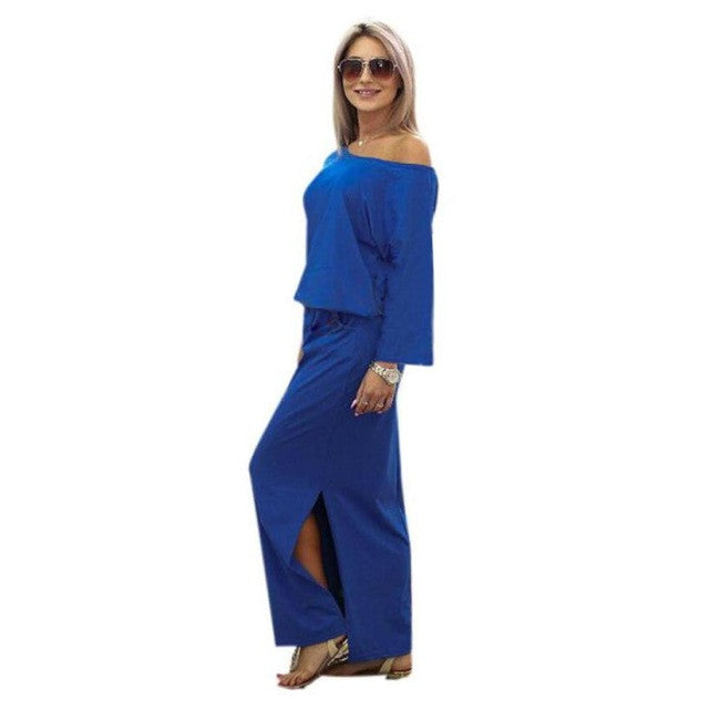 One Shoulder Maxi Dress Long Sleeve