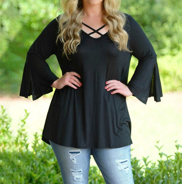 Plus Size Blouse Fashion Front Cross Boho Style Tops Long Flare Sleeve Casual Soft Shirt Blouse blusas mujer de moda