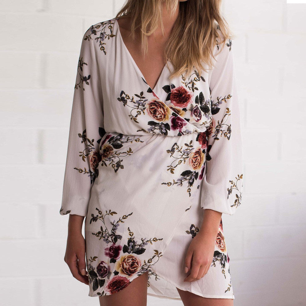 Boho Style Floral Print Long Sleeve Dress Evening Party Asymmetrical Chiffon Mini Dress Hippie