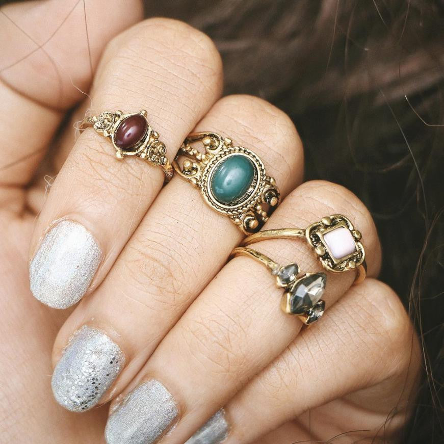 4pcs/Set Boho Style Bohemian Vintage Silver Stack Rings Above Knuckle Blue 4 joint Rings Set beautiful accessories 45 - Gisselle Morales