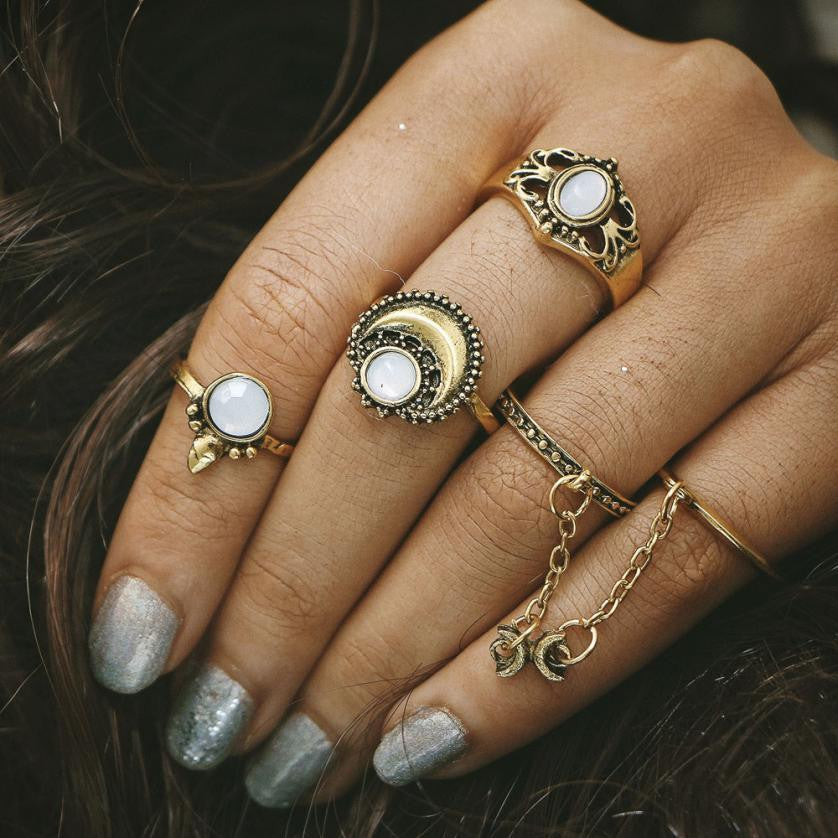 5pcs/Set Boho Tibetan Moon And Sun Midi Ring Set - Gisselle Morales