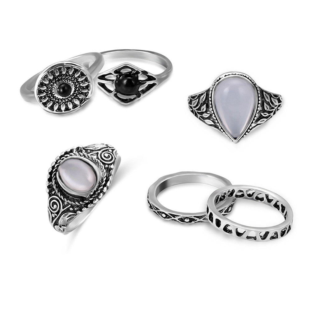 6 Pcs/ set Bohemian Ring Set Ethnic Antique Silver Color - Gisselle Morales