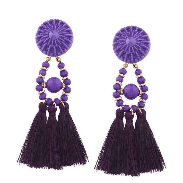 Fashion temperaBoho Stylet Bohemian Earrings Boho Style Long Tassel Fringe Dangle Earrings Jewelry Weave Long fringe Earrings 30